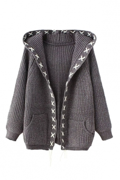 Womens Cross Lace-up Hooded Long Sleeve Cardigan Sweater Gray