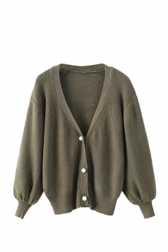 Womens V Neck Puff Sleeve Plain Cardigan Sweater Army Green