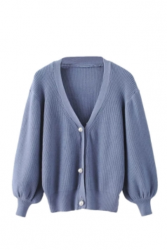 Womens V Neck Puff Sleeve Plain Cardigan Sweater Blue