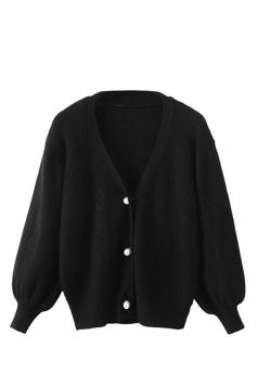 Womens V Neck Puff Sleeve Plain Cardigan Sweater Black