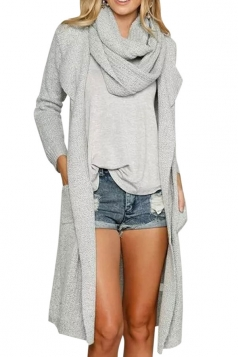 Womens Plain Long Cardigan Sweater with Wrapped Scarf Gray