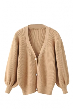 Womens V Neck Puff Sleeve Plain Cardigan Sweater Khaki