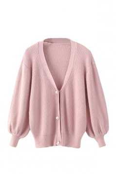 Womens V Neck Puff Sleeve Plain Cardigan Sweater Pink