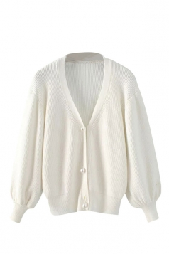 Womens V Neck Puff Sleeve Plain Cardigan Sweater White