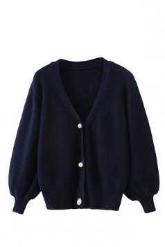 Womens V Neck Puff Sleeve Plain Cardigan Sweater Navy Blue