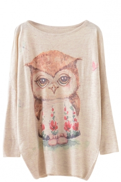 Womens Cute Owl Patterned Long Sleeve Pullover Sweater Beige