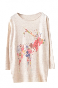 Womens Pretty Deer Patterned Pullover Long Sleeve Sweater Beige