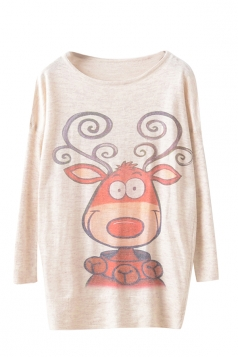 Womens Cute Deer Patterned Pullover Long Sleeve Sweater Beige