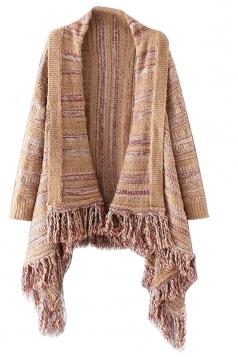 Womens Long Sleeve Patterned Fringe Cardigan Sweater Khaki