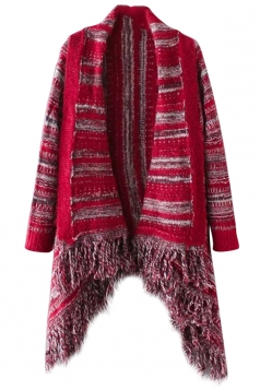 Womens Long Sleeve Patterned Fringe Cardigan Sweater Red