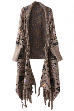 Womens Geometric Patterned Fringe Cardigan Sweater Coffee
