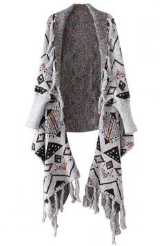 Womens Geometric Patterned Fringe Cardigan Sweater Gray