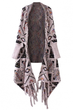 Womens Geometric Patterned Fringe Cardigan Sweater Pink