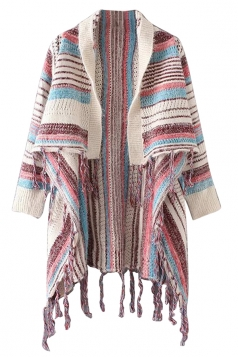 Womens Color Block Striped Pattern Tassel Cardigan Sweater Beige White