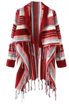 Womens Color Block Striped Patterned Tassel Cardigan Sweater Red