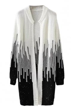 Womens Loose Beaded Color Block Long Sleeve Cardigan Sweater Black