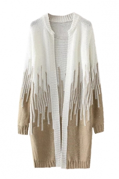 Womens Loose Beaded Color Block Long Sleeve Cardigan Sweater Khaki
