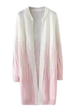 Womens Loose Beaded Color Block Long Sleeve Cardigan Sweater Pink