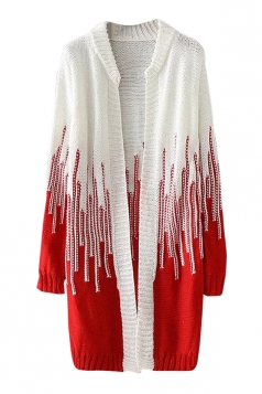 Womens Loose Beaded Color Block Long Sleeve Cardigan Sweater Red