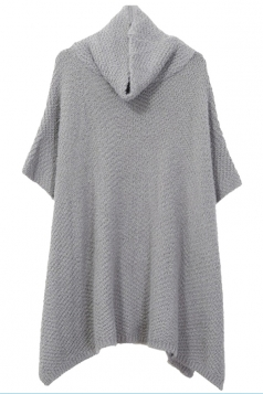 Womens Heaps Collar Loose Plain Pullover Sweater Gray