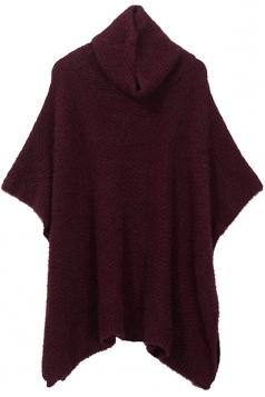 Womens Heaps Collar Loose Plain Pullover Sweater Ruby