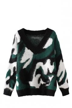 Womens V Neck Camouflage Patterned Pullover Sweater Army Green
