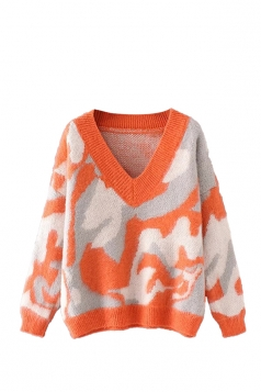 Womens V Neck Camouflage Patterned Pullover Sweater Orange