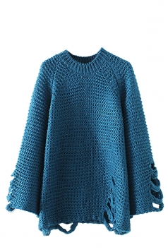 Womens Round Neck Knit Ripped Plain Pullover Sweater Blue