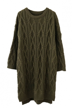 Womens Crewneck Cable-knit Plain Pullover Sweater Dress Army Green
