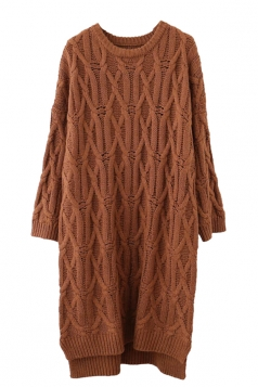 Womens Crewneck Cable-knit Plain Pullover Sweater Dress Camel