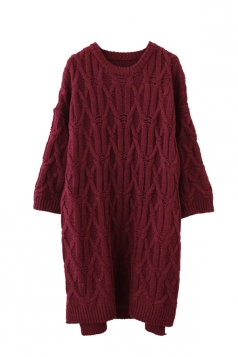 Womens Crewneck Cable-knit Plain Pullover Sweater Dress Ruby