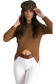 Womens Hollow Out High Low Asymmetric Hem Pullover Sweater Brown