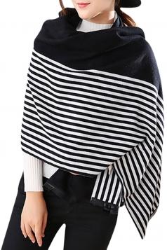 Womens Vintage Striped Shawl Scarf Black
