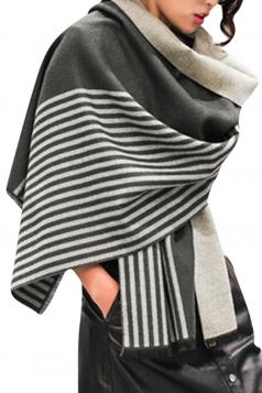 Womens Vintage Striped Shawl Scarf Dark Gray