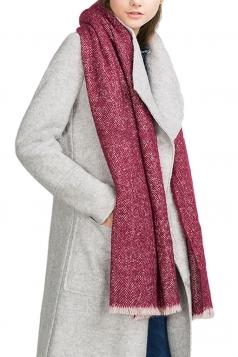 Womens Eyelash Fringe Tie-dye Long Scarf Ruby
