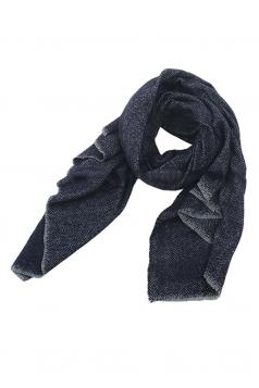 Womens Eyelash Fringe Tie-dye Long Scarf Navy Blue
