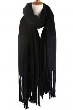Womens Simple Tassel Solid Blanket Scarf Black