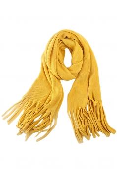 Womens Simple Tassel Solid Blanket Scarf Yellow