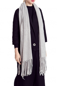 Womens Simple Tassel Solid Blanket Scarf Gray