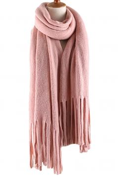Womens Simple Tassel Solid Blanket Scarf Pink