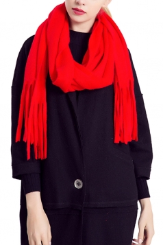Womens Simple Tassel Solid Blanket Scarf Red