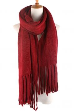 Womens Simple Tassel Solid Blanket Scarf Ruby