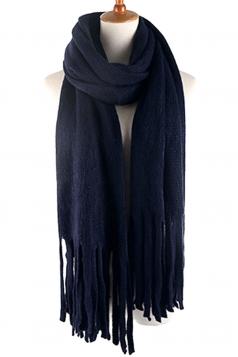 Womens Simple Tassel Solid Blanket Scarf Navy Blue