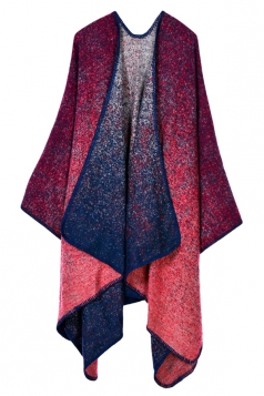 Womens Retro Exotic Patterned Cardigan Poncho Red