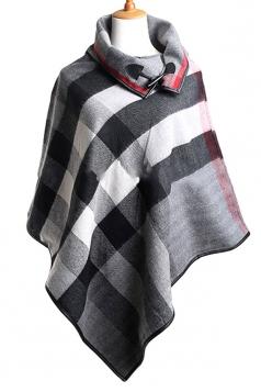 Womens Turndown Collar Color Block Plaid Poncho Gray