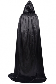 Womens Plain Floor Length Hooded Halloween Witch Cloak Black