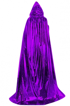 Womens Plain Floor Length Hooded Halloween Witch Cloak Purple