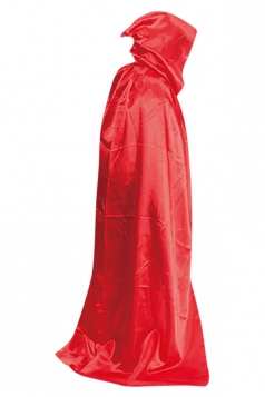 Womens Plain Floor Length Hooded Halloween Witch Cloak Red