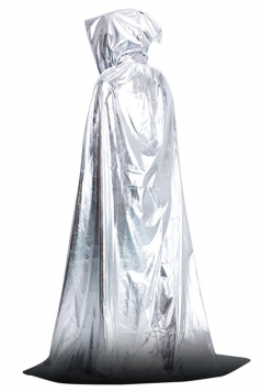 Womens Plain Floor Length Hooded Halloween Witch Cloak Silvery