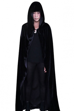 Womens Hooded Cosplay Halloween Witch Cloak Black